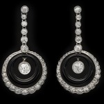 Art Deco Onyx and diamond earrings French, circa 1925.