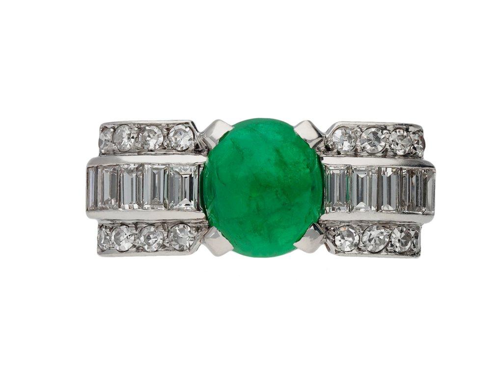 Art Deco cabochon emerald and diamond ring berganza hatton garden