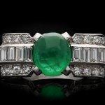 Art Deco cabochon emerald and diamond ring, circa 1925.