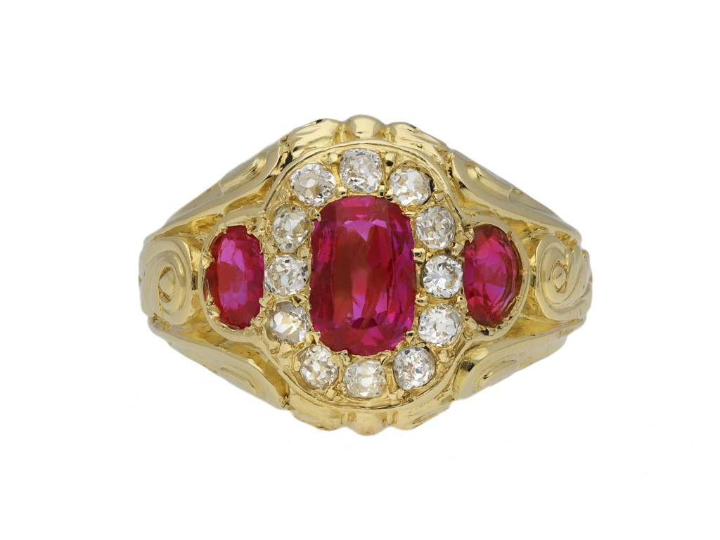 Victorian Burmiese ruby diamond ring berganza hatton garden