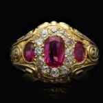 Victorian Burmese ruby and diamond cluster ring, circa 1890.