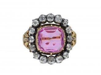 Victorian pink topaz and diamond cluster ring hatton garden