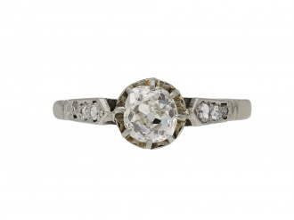 Antique diamond flanked solitaire ring berganza hatton garden