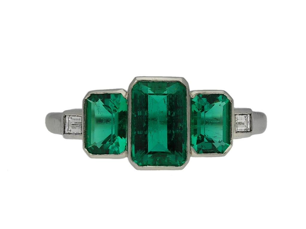 Art Deco Colombian emerald ring berganza hatton garden