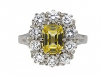 Yellow Ceylon sapphire diamond cluster ring berganza hatton garden