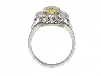 Yellow Ceylon sapphire diamond cluster ring berganza hatton garden