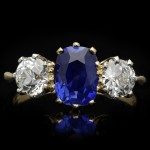 Edwardian Ceylon Sapphire and diamond three stone ring, English, circa 1910.