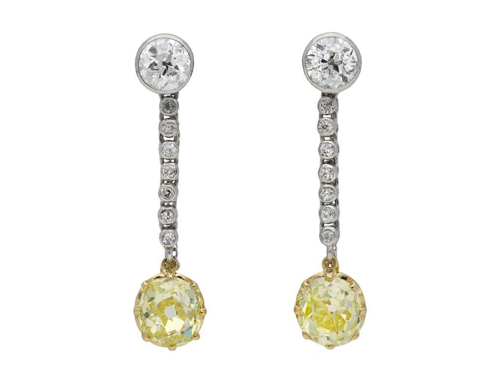 fancy yellow diamond drop earrings berganza hatton garden