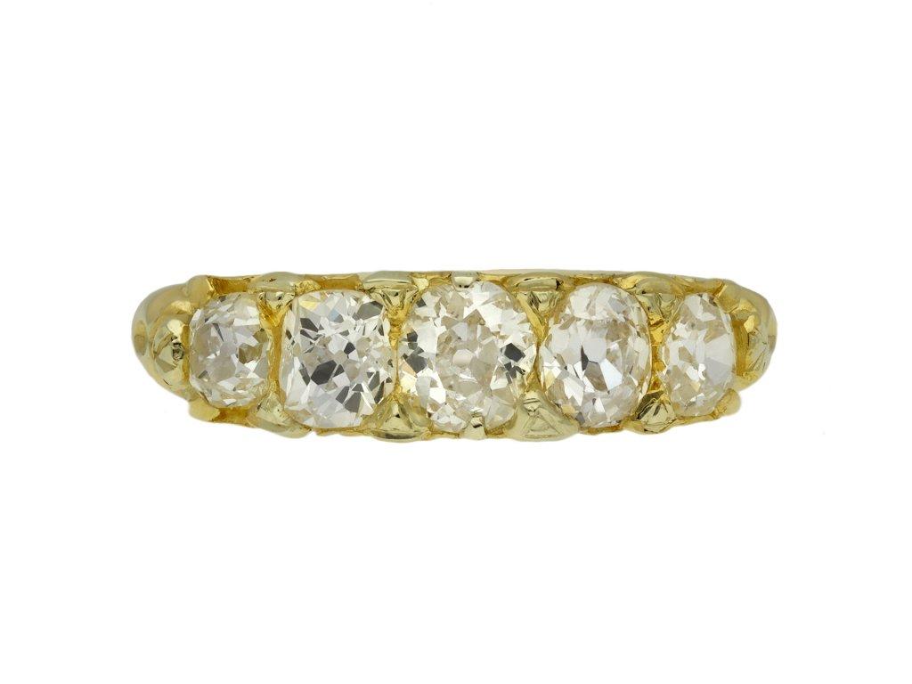 Cushion old mine diamond five stone ring berganza hatton garden