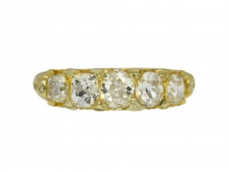 Cushion old mine diamond five stone ring berganza hatton garden