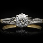 Old mine diamond solitaire ring, circa 1910.