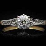 Old mine diamond solitaire ring, circa 1910.