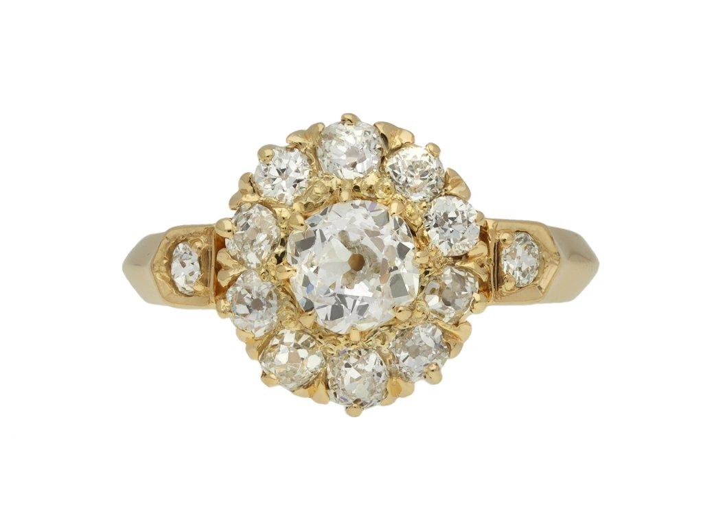 Victorian diamond coronet cluster ring berganza hatton garden