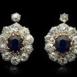 Edwardian sapphire and diamond cluster earrings, circa 1910.
