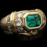 Colombian emerald and diamond ring, French, circa 1980.
