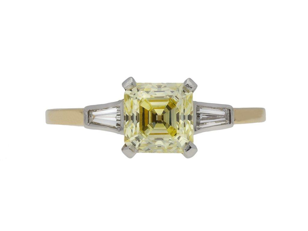 Fancy yellow diamond flank solitaire ring berganza hatton garden