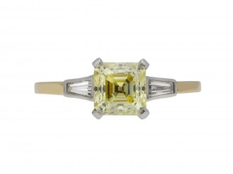 Fancy yellow diamond flank solitaire ring berganza hatton garden