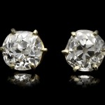 Victorian diamond stud earrings, crica 1900