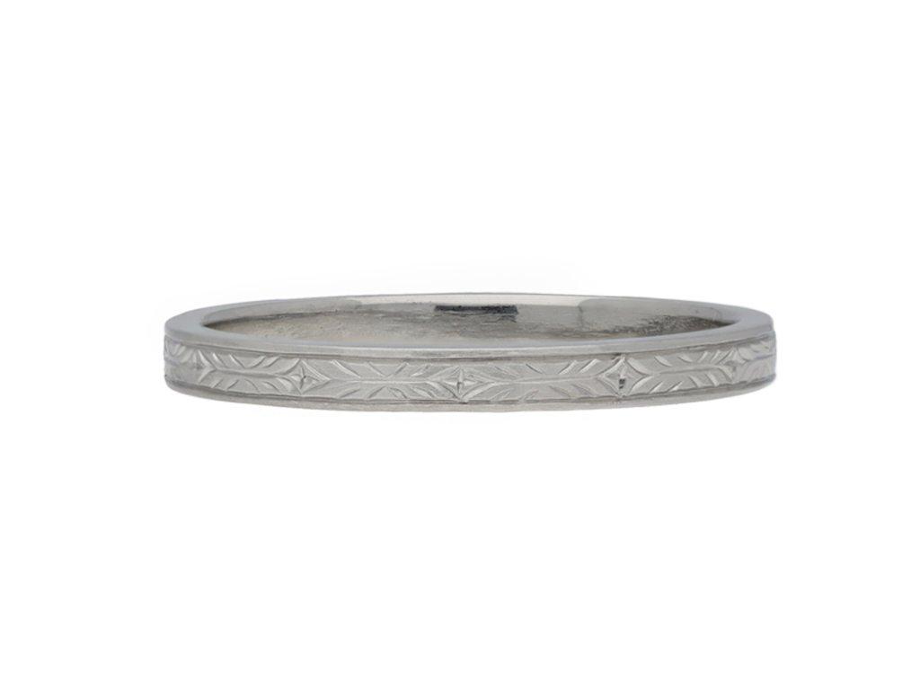 Antique engraved platinum wedding band berganza hatton garden