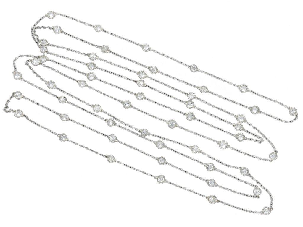 Edwardian diamond long chain necklace berganza hatton garden