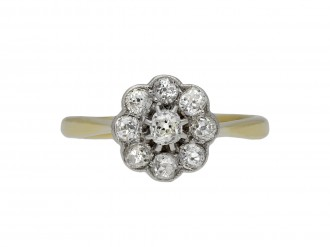 Edwardian diamond coronet cluster ring berganza hatton garden