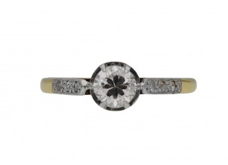 Edwardian diamond flanked solitaire ring berganza hatton garden