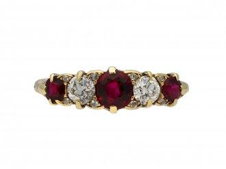 Victorian ruby and diamond five stone ring hatton garden