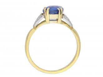 Ceylon sapphire diamond flanked solitaire ring hatton garden