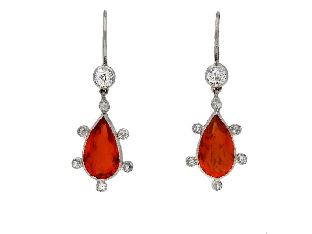 Edwardian fire opal diamond drop earrings berganza hatton garden