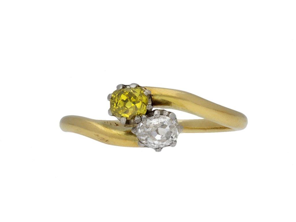 Edwardian fancy diamond crossover ring berganza hatton garden