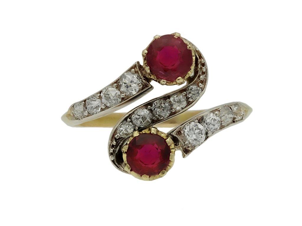 Art Nouveau ruby diamond crossover ring hatton garden berganza