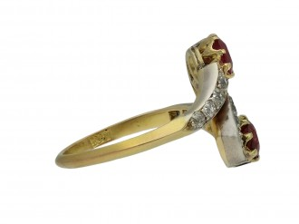 Art Nouveau ruby diamond crossover ring hatton garden berganza