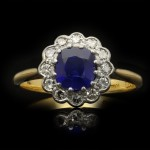 Burmese sapphire and diamond coronet cluster ring, English, circa 1915.