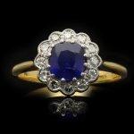 Burmese sapphire and diamond coronet cluster ring, English, circa 1915.
