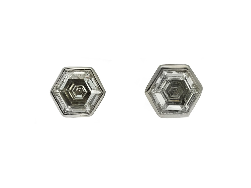 Vintage hexagonal diamond stud earrings berganza hatton garden