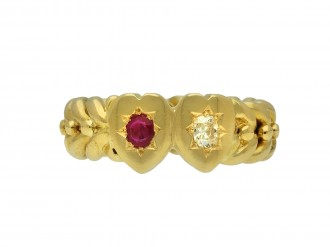 Victorian ruby diamond heart ring berganza hatton garden