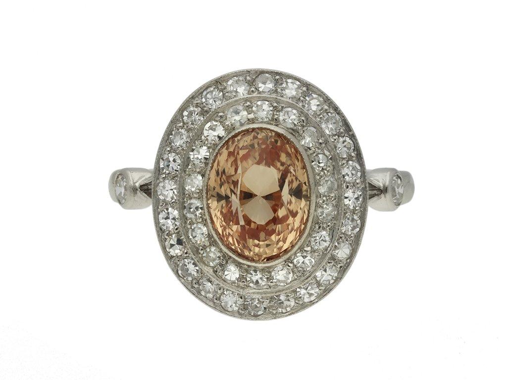 Padparadscha sapphire diamond cluster ring berganza hatton garden