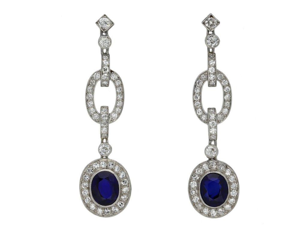 Burmese sapphire and diamond drop earrings hatton garden