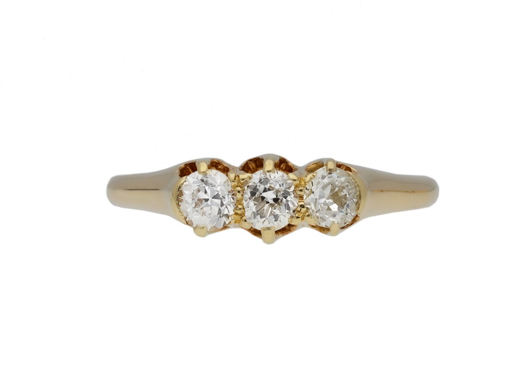 Old cut diamond three stone ring berganza hatton garden