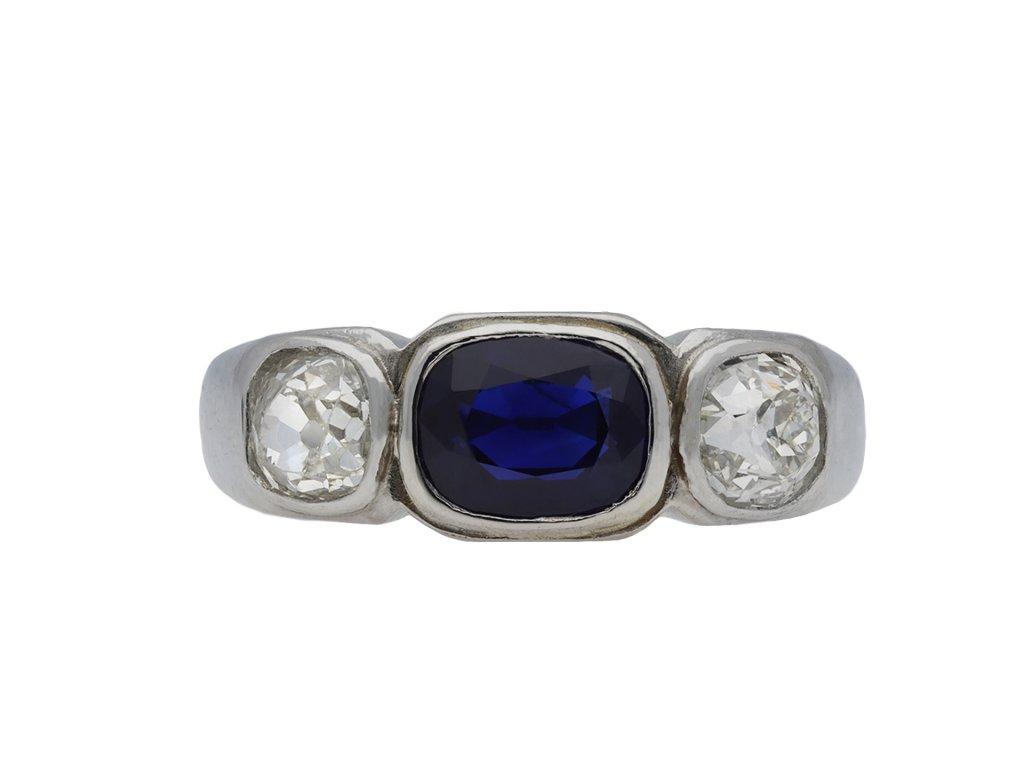 Art Deco sapphire and diamond three stone ring hatton garden