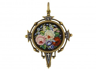 Victorian micro mosaic pendant berganza hatton garden