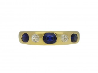 Victorian sapphire diamond five stone ring berganza hatton garden