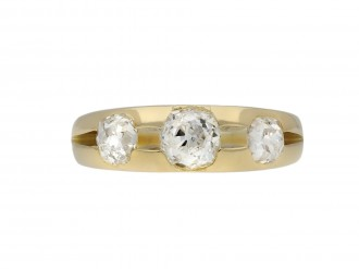 Old mine diamond three stone ring berganza hatton garden