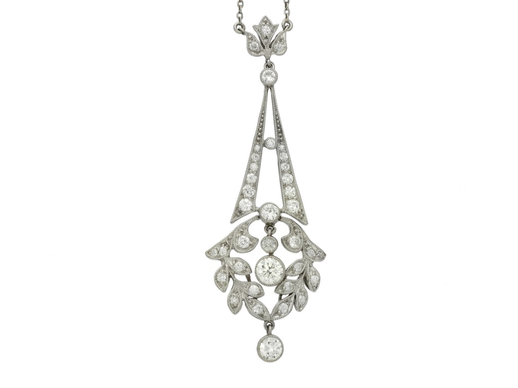 Edwardian diamond pendant hatton garden berganza