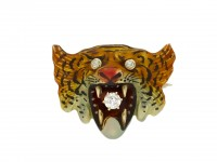Victorian diamond and enamel tiger brooch berganza hatton garden