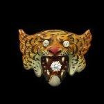Victorian diamond and enamel tiger brooch, American, circa 1900.