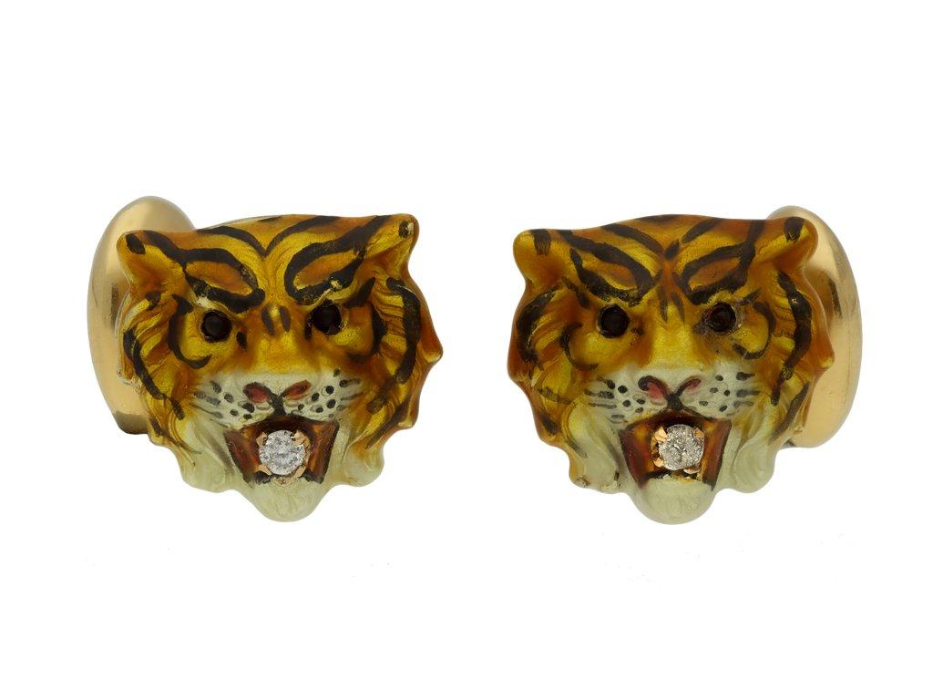 Diamond and enamel tiger cufflinks berganza hatton garden