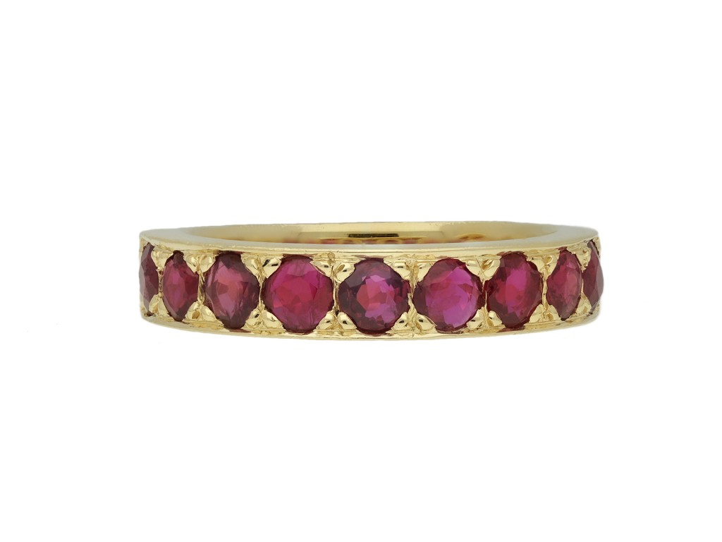 Vintage ruby half eternity band berganza hatton garden