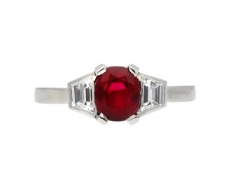 Art Deco Burmese ruby and diamond ring hatton garden