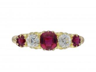 Ruby and diamond five stone ring hatton garden